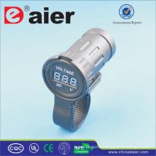 Medidor de suministro de energía de la motocicleta Daier Medidor de voltaje Digital Voltímetro LED 12V de alimentación eléctrica