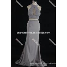 Sexy rebordeado cuello halter encaje Appliqued Satén de dos piezas 2016 vestido de baile