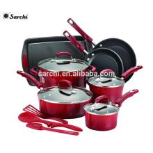 14-Piece Hard Enamel Nonstick Cookware Set Red