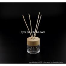 Bouteille en verre de diffuseur de forme ronde de 130ml avec le chapeau en bois
