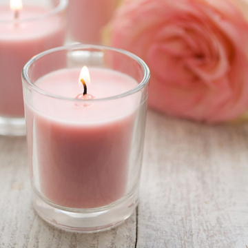 Genomskinlig glasburk Silver Lock Rose Soy Candles