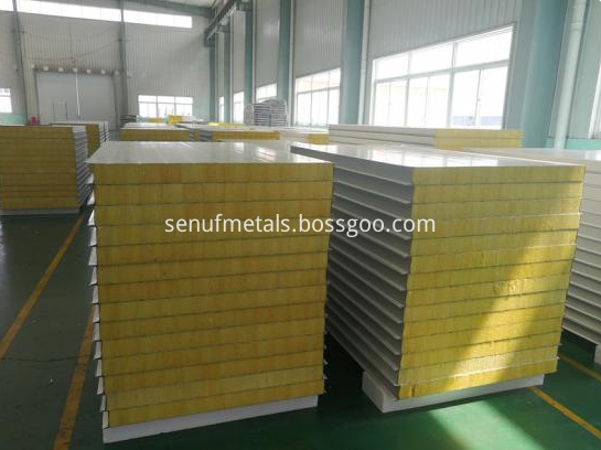50 150mm Thickness Rockwool Sandwich Panel For Metal Wall Cladding System