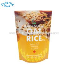 O saco de empacotamento do arroz 10kg com janela / levanta-se o malote com o zíper para o arroz de empacotamento / manufatura ziplock plástica do saco com punho