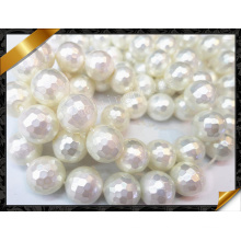 Shell Pearl Beads, Faceted White Fashion Jewelry Shell Pearl (APS026)