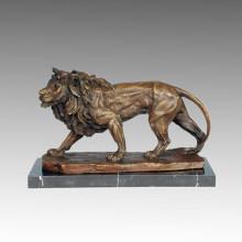 Tier Bronze Skulptur Löwe Carving Handwerk Messing Statue Tpal-209