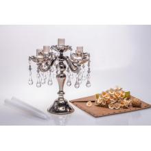 Shine Metal Color Five Poster Glass Candle Holder for Wedding Decoration