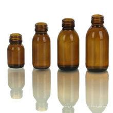 Botella de vidrio ámbar para jarabe, acabado de cuello DIN28
