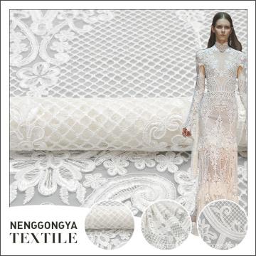 Nouveau style classique de mariée en maille blanche broderie cordon dentelle