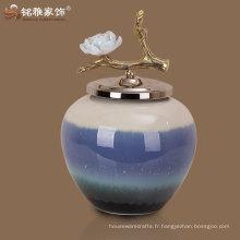 Vase à fleurs de poterie de forme ronde de haute qualité pour un nouveau décor de maison