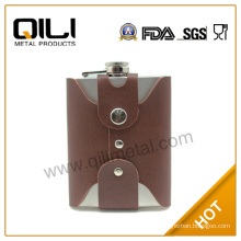 FDA 8oz Stainless steel leather hip flask gift set