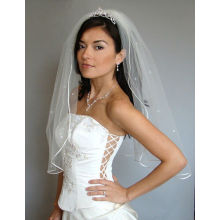 White CRYSTAL RHINESTONE Bridal Wedding Veil New Satin Cord Trim