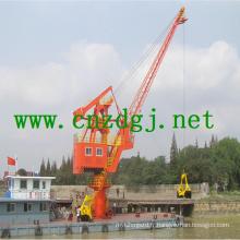 Grue hydraulique de bateau flottant avec grappin
