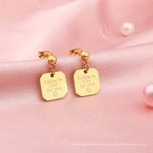 Custom Stainless Steel 18K Gold Plated Rectangle Engraved Letter Dangle drop Women's earrings