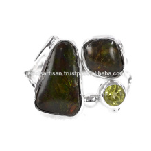 Natural Ammolite And Peridot Gemstone 925 Sterling Silver Ring Jewelry
