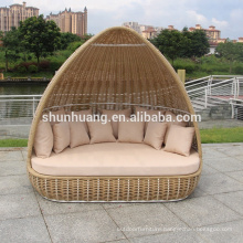 Outdoor rattan sun bed garden yellow with white color big wicker outdoor bed
