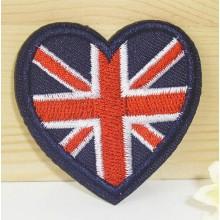 En forma de corazón personalizada estilo fresco tejidos parches para uniforme escolar