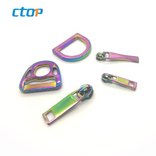 Wholesale Fashion Colorful Low Price Bag Metal Fancy Zipper Puller Metal Hardware Accessories Bag Button And D Ring