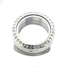 Fabrikpreis runde kristall 316l leben glas edelstahl schwimm medaillons schmuck ringe
