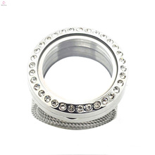 Factory price round crystal 316l living glass stainless steel floating lockets jewelry rings