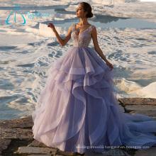 Sequined Beading Crystal Cascading Ruffle Vintage Wedding Dresses