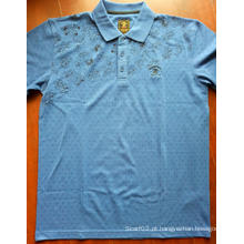 Camisetas polo de manga curta estampada em tela masculina