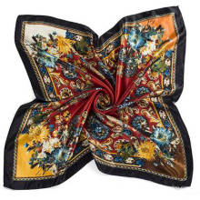 Fashion style cashew nut printing satin square Imitated silk scarf