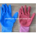 Nylon colorido punto guante de trabajo con Sandy nitrilo sumergir (N1558C)