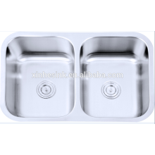 304 stainless steel undermount double bowl hexagon sink