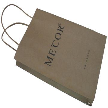 Saco de compras de papel Kraft com o identificador de corda de papel