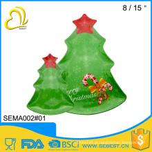 venda por atacado de mesa decorar bandeja de árvore de natal de servir de plástico