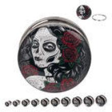 Day of the Dead Maiden 316L Steel Screw Fit ear plugs piercings