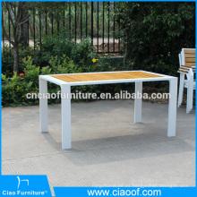 Mesa de comedor de rectángulo de madera de teca al aire libre