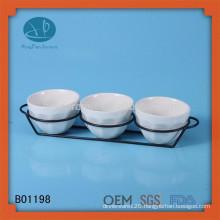 White ceramic sets dinnerware snack tray set,ceramic ice cream bowl with stand