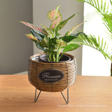 Home decoration plastic rattan durable flower baskets flower pots and planters use metal stand planter