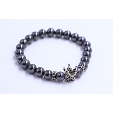 Stainless Steel Mens Crown Charm Beads Bracelet