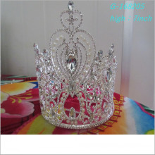 Wholesale Fashion pearl large pageant crowns full tall miniature crown