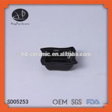 black snack bowl,ceramic pasta bowl,LFGB,FDA,CIQ,CE / EU,SGS,EEC Certification and Porcelain Ceramic Type black square dish
