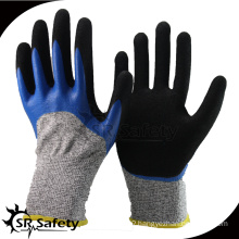 SRSAFETY 2016 double coated safety Cut-5 working nitrile glove with 2 layer coating glove,anti-cut glove