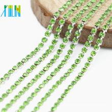 Wholesale Fashion Peridot Rhinestone Silver Dense Cup Chain Trim Jewelry