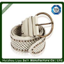 elegant white leather rivets and studs braided belt 2014