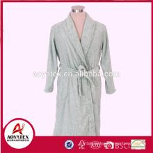 New design 3D embossed flannel fleece bathrobe for women