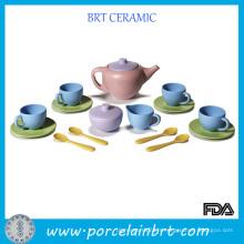 Service à thé jouet solide avec soucoupe verte