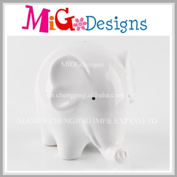 China Factory White Elephant Ceramic Piggy Bank
