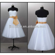 Beautiful Bow Sash Empire Appliques Tulle Sweetheart Tea Length Wedding Dress