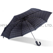 Periksa Tahan Angin Cetak Mens Folding Umbrella
