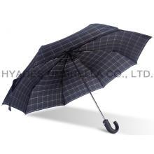Paraguas plegable para hombre con estampado de cuadros a prueba de viento