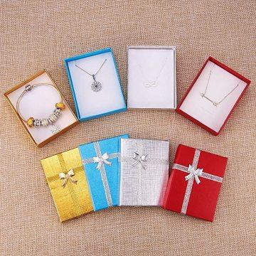 Caixa de colar ouro azul vermelho prata