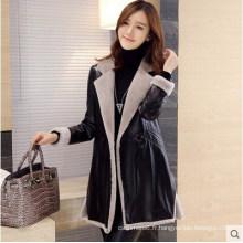Long manteau en cuir Shearling Manteau en cuir noir Long Style pour les femmes Manteau en fourrure