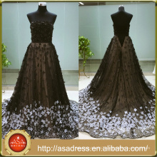 ASAF-01 Luxury Strapless Handmade Flowers Pearls Beaded Long Train Evening Dress