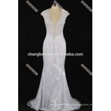 Sexy Deep Neck Brautkleid sehen durch zurück Spitze Brautkleider